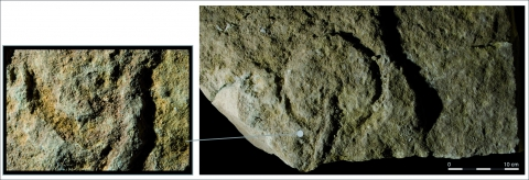 Figure 6 - Block K, the ovoid form and close-up of pecking traces.