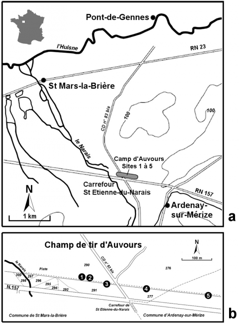 Figure1a - Geographic location of the prehistoric site of the camp of Auvours according to the map of Bouloire 1/50 000. Figure 1b - Cadastral location of sites 1-5.