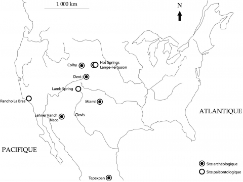 Figure 1 - Location of the main Mammuthus columbi sites.