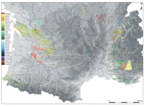 Map Of The South Of France.A Map And A Database For Flint Bearing Formations In Southern France