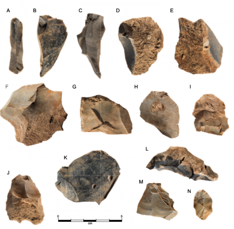 Figure 19 - Excavated chert artefacts from Waredaru. Unretouched flakes (A - C, G - I, K, M, N); cortical flakes (D - F, J, L)