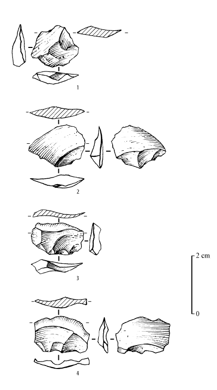 Figure 11 - Roc de Combe (Lot), Denticulate Discoïd Mousterian. Different types of notched flakes. 1: non-cortical notched flake. 2: notched flake from the inferior surface flake. 3: re-sharpening flake from a non-cortical notch. 4: re-sharpening flake from a denticulate. Drawings: G. Devilder.