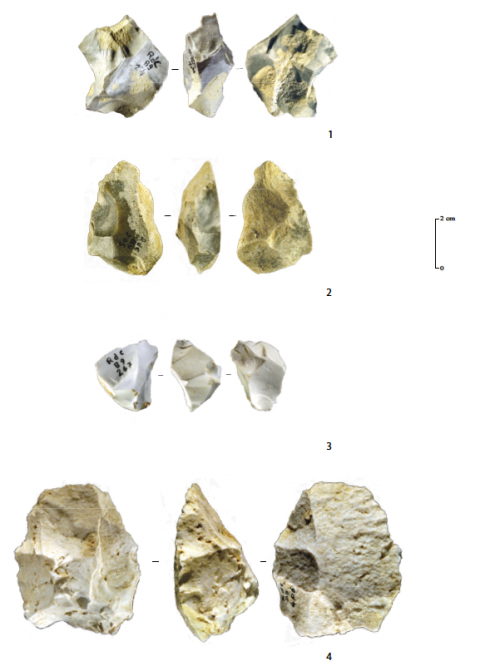 Figure 4 - Roc de Combe (Lot), Discoid-Denticulate Mousterian. Discoid cores on blocks and flake-cores. 1: Discoid Senonian flint core on block reduced following a centripetal sequence. 2: Senonian flint cortical bifacial flake-core reduced following a unipolar sequence. 3: bi-pyramidal core on block in Tertiary chalcedony. 4: Flake-core in Tertiary chalcedony knapped by a centripetal sequence. Credits: MNP Les Eyzies – Dist. RMN- photo Ph. Jugie.