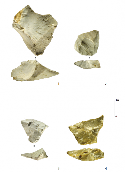 Figure 6 - Roc de Combe (Lot), Denticulate-Discoid Mousterian. 1: Typical pseudo-Levallois point in Cenozoic chalcedony. 2 and 3: atypical pseudo-Levallois points in Cenozoic chalcedony. 4: Typical pseudo-Levallois point in Senonian flint. Credits: MNP Les Eyzies - Dist. RMN- photo Ph. Jugie.