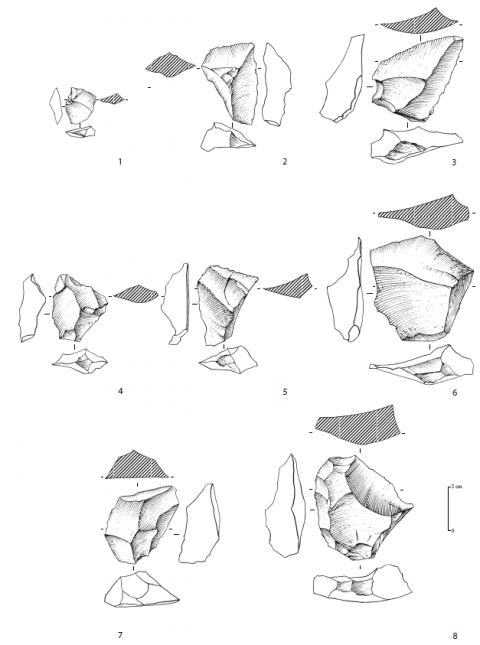 Figure 7 - Roc de Combe (Lot), Flint industry in Cenozoic chalcedony. 1, 2, 3 and 6: pseudo-Levallois points. 4 and 5: atypical pseudo-Levallois points. 7 and 8: centripetal debordant flakes. Drawings: G. Devilder.
