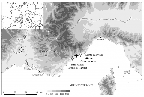 Figure 1 - Location of the Observatoire Cave (Principality of Monaco) and of the main sites mentioned in the text.