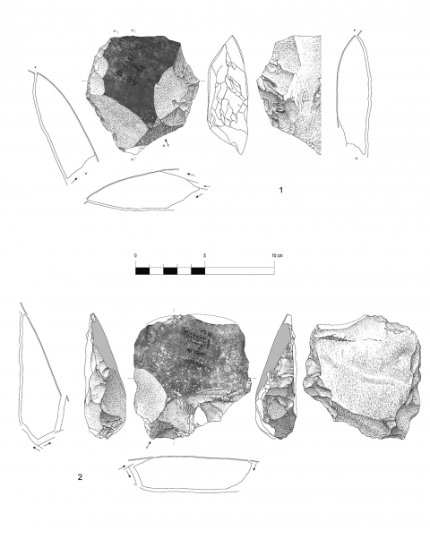 Figure 11 - Large flakes with cortical biseau showing a bilateral (n° 1) an unilateral (n°2) preparation, hearth k of the Observatoire Cave (drawings by M. Grenet).