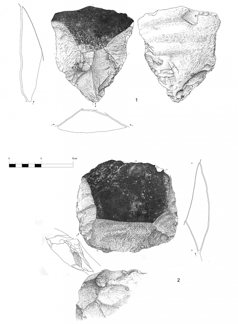 Figure 12 - Large flakes with cortical biseau showing a bilateral preparation, hearth k of the Observatoire Cave (drawings by M. Grenet).