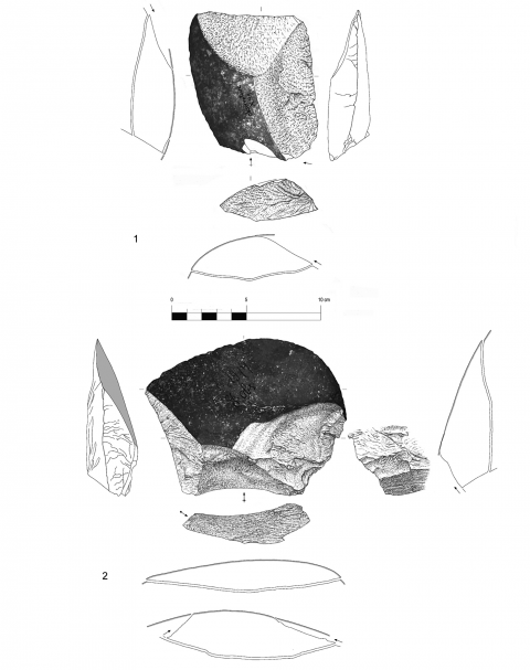 "Figure 13 - Large flake with a prepared biseau (n° 1) and large flake with cortical biseau showing a bilateral preparation (n° 2) from the hearth ""k"" of the Observatoire Cave (drawings by M. Grenet)."
