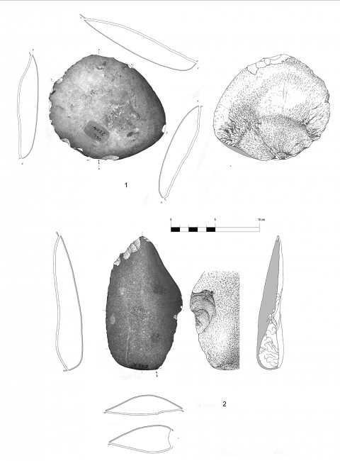 Figure 15 - Entames from the hearth k of the Observatoire Cave (drawings by M. Grenet).
