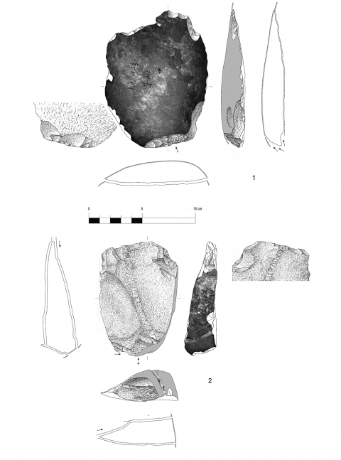 Figure 16 - Entame and flake with a cortical back from the hearth k of the Observatoire Cave (drawings by M. Grenet).