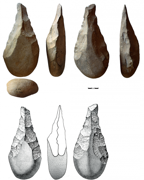 Figure 24 - Biface with an unmodified cortical base from the hearth k of the Observatoire Cave.