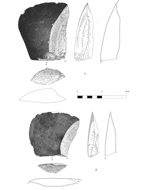 Figure 6 - Large flakes with cortical biseau showing an unilateral preparation, hearth k of the Observatoire Cave (drawings by M. Grenet).
