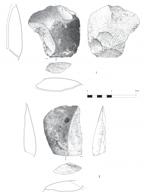 Figure 7 - Large flakes with cortical biseau showing an unilateral preparation, hearth k of the Observatoire Cave (drawings by M. Grenet).