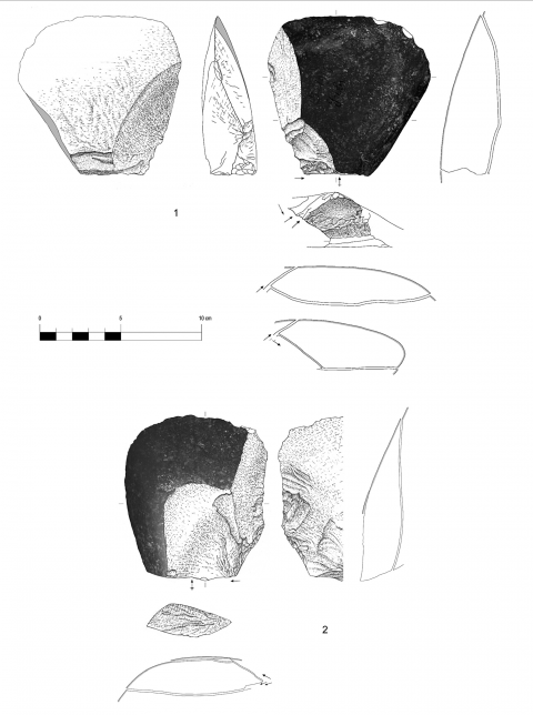 Figure 8 - Large flakes with cortical biseau showing an unilateral preparation, hearth k of the Observatoire Cave (drawings by M. Grenet).
