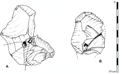 Figure 12 - Comparison between successive preferential flakes from Hermies-Le Tio Marché : A-Q5/91 (which was broken in three pieces during the knapping) and B-Q5/72