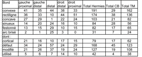 CB = Champ Bruquette, TM = Tio Marché.Table 4 - Typology of sides on preferential flakes from Hermies (all levels taken into account, n=133). CB = Champ Bruquette, TM = Tio Marché.