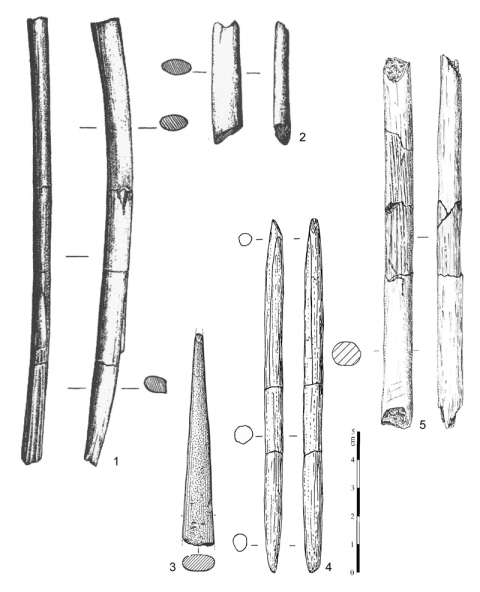 Figure 3 - Quelques exemples d'outils en matières dures animales du Paléolithique supérieur initial.Figure 3 - A few examples of tools in osseous materials from the initial Upper Paleolithic.