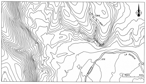 Figure 3 : Carte topographique du secteur sud du fossé de Sault et des plateaux bordiers.Figure 3: Topography of south sector of Sault with plateaux and main sinkholes (1 to 9).