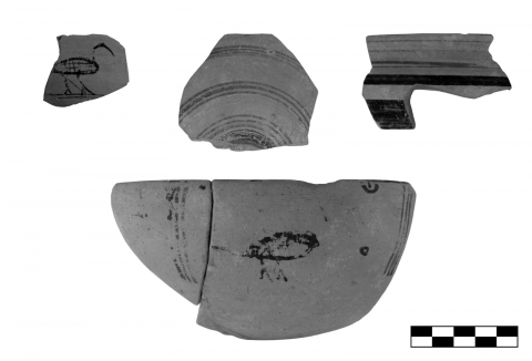"Figure 6. Fragments of archaic East Greek cups und ""local"" imitations from the sanctuary of Sane (scale 1:2)."