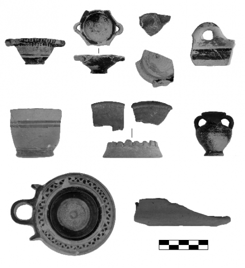 Figure 8. Miniature vase shapes represented in the votive deposits of the archaic sanctuary of Sane: kotyle, strap-handled bowl, crater, plate, kanoun, bowl, amphora, kalathiskos, exaleiptron, pyxis (scale 1:2).