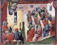 Aristote professant devant ses élèves
