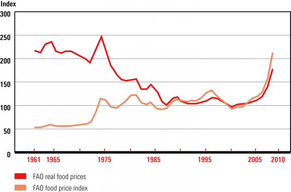 the food crisis and food security towards a new world food order  figure 1 evolution of fao food price indices 1961 2008