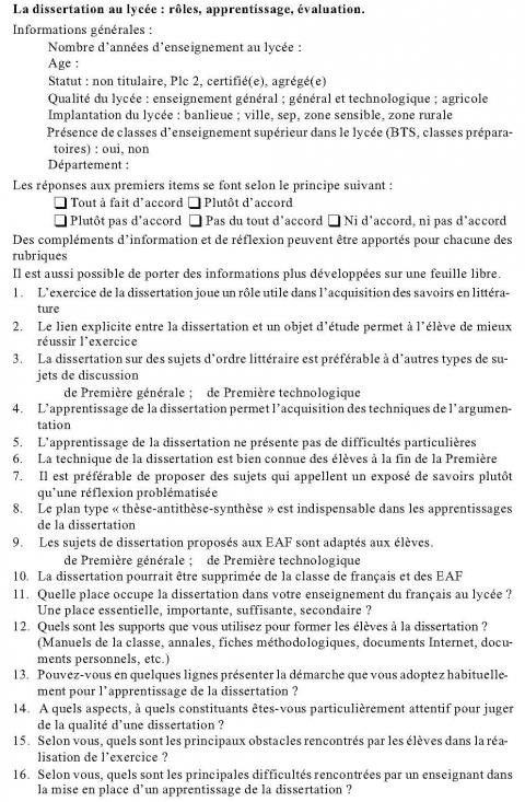 Dissertation sur la fonction de la litterature