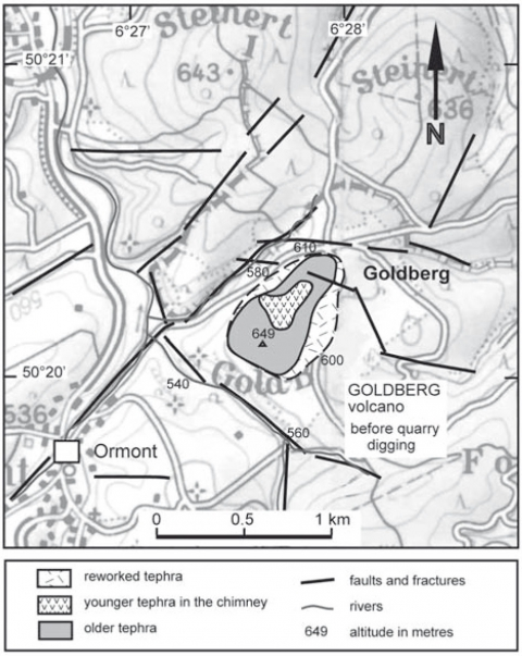 Fig. 2: The Goldberg volcano and the regional structural features.Fig. 2 : Le volcan Goldberg dans le cadre structural regional.