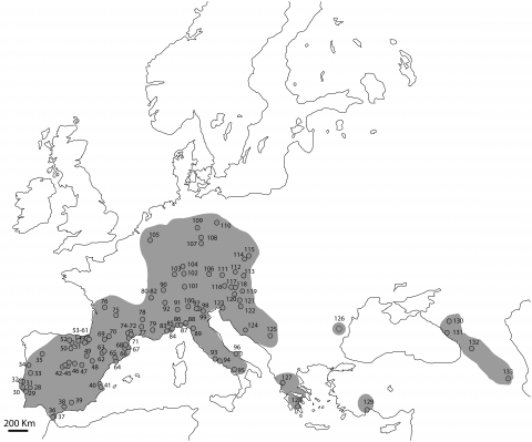 Fig. 8: Distribution area of Panthera pardus in Europe during the Upper Pleistocene (Middle Palaeolithic).