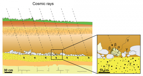 Fig. 1: Schematic representation of alpha, beta and gamma and cosmic rays received by a tooth buried in sedimentary deposits