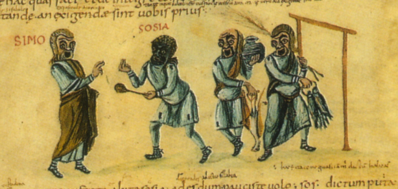 Scène de théâtre dans un manuscrit du ixesiècle.