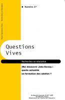 (Re) découvrir John Dewey : quelle actualité en formation des adultes ?