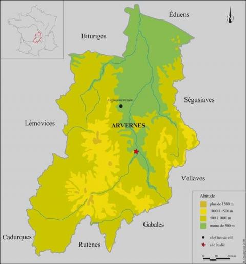 Fig.1: Localisation du site au sein du territoire arverne