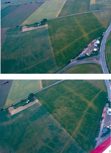 """Fig.4: Le site de """"La Croix de la Pierre"""". 1: vue générale de l'agglomération et de la voie ; 2: détail sur les îlots d'habitation et les ruelles"""