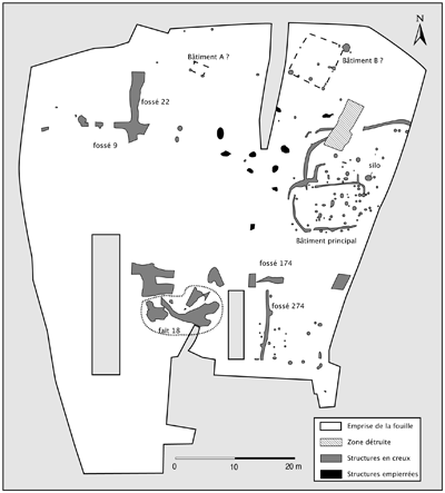 Figure 3 : Les Chaloignes, plan des structures de l'âge du Fer.Figure3: Plan of the Iron Age features.