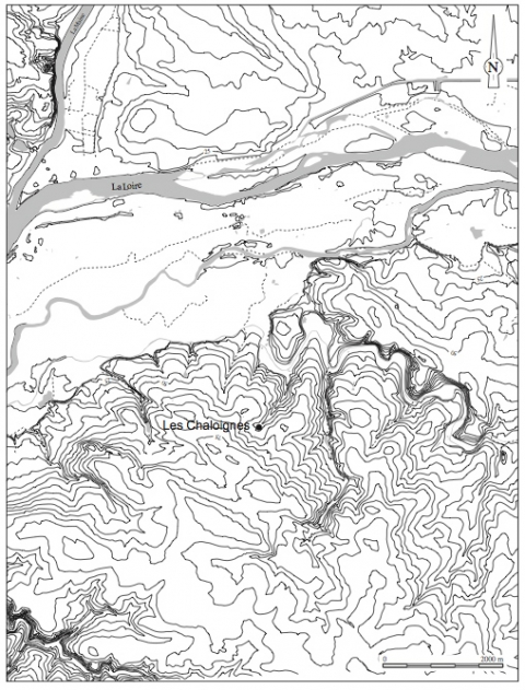 Figure 2 : Position topographique du site (DAO J.-F. Nauleau). Figure 2 : Topographical situation of the site.