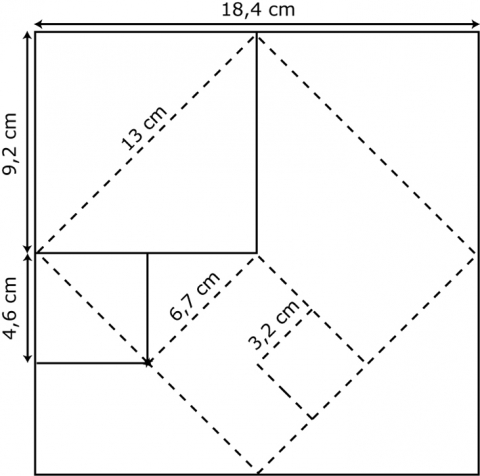 Figure 2 : Carreaux issus du partage d'un module carré de 18,4 x 18,4 cm² incisé avant la cuisson. Figure 2: Tiles stemming from the sharing of a square module of 18.4 x 18,4 cm² incised before firing.