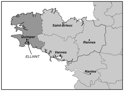 Figure 1 : Carte de localisation         d'Elliant.Figure 1 : Location map of         Elliant.