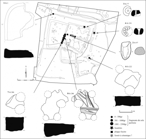 "Figure 18 : Falaise « Expansia », mobiliers           divers. M. Besnard/Inrap.Figure 18: Falaise           ""Expansia"", various artefacts. M.           Besnard/Inrap."
