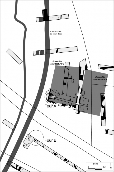 Figure 10 : Brillevast, Le Douetty, plan             des ensembles architecturaux 1 et 2.Figure             10: Brillevast, Le Douetty, plan of buildings 1 and 2.