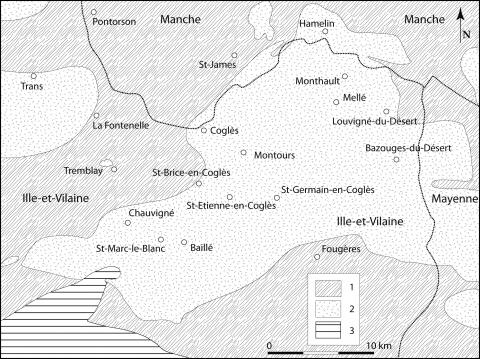 Figure 7: Partie occidentale du pluton de         Louvigné-du-Désert au nord de Fougères. Seule une partie du massif est         en Ille-et-Vilaine (les tiretés marquent la limite départementale).         1: Briovérien; 2: Granite; 3: Paléozoïque.Figure 7: Western part of Louvigné-du-Désert pluton,         north of Fougères (only a part of the massif is in Ille-et-Vilaine;         dashed line marks the departmental limit). 1, Brioverian; 2, granite;         3, Palaeozoic.
