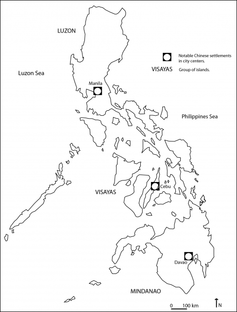 Map 1: The notable Chinese settlements in Philippine cities