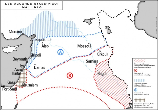 Les accords Sykes-Picot de mai 1916.  ...