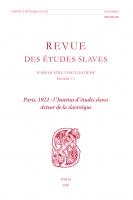 Paris, 1921 : l'Institut d'études slaves, acteur de la slavistique