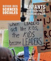 Couverture de Revue des sciences sociales, n°63 | 2020, Enfants. Contraintes et pouvoir d'agir