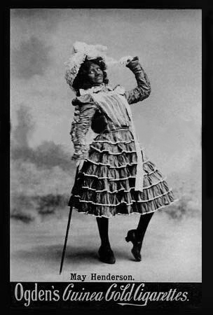 "After 1890, some female ""negro imitators"" made a good living on the music-hall stage; here, May Henderson, who worked at least until 1927."