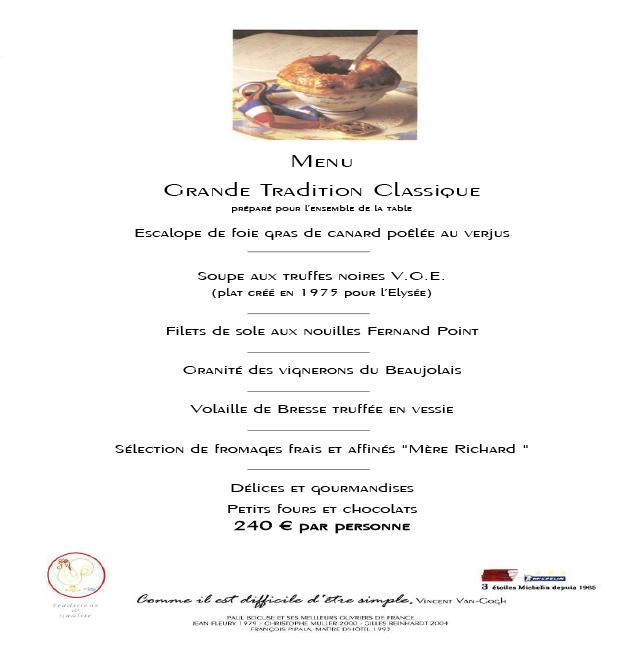 Carte Restaurant Classique