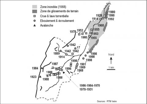 Figure 2. Major events recorded in the Lavanchon catchment basin.