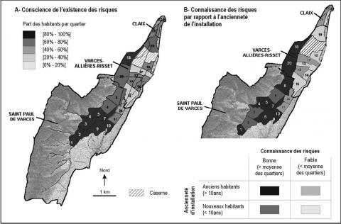 Figure 4. Spatial distribution of the perception of natural hazards by the inhabitants of the Lavanchon basin: a. Awareness of the existence of hazards; b. Knowledge of the risks in relation to duration of residence.